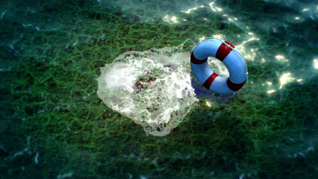 White lifebuoy  as help and freedom concept video
