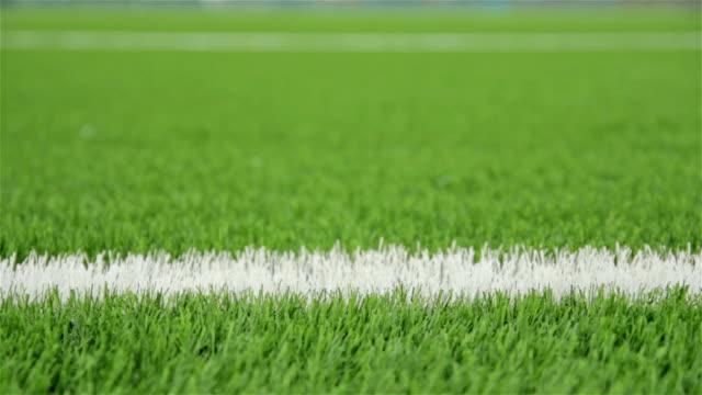 White line of the soccer field. Close-up horizontal slider shot