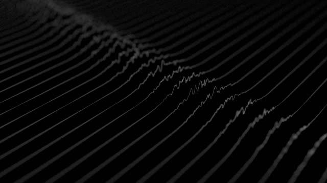 vita linjer som bildar förvrängd fältvisualisering på svart bakgrund. abstrakt cg 3d-animering, isometrisk, med skärpedjup effekt. - designelement bildbanksvideor och videomaterial från bakom kulisserna