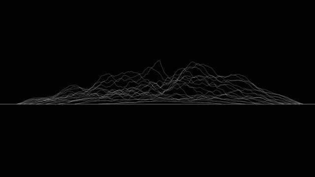 vita linjer som bildar förvrängd yta på svart bakgrund. abstrakt cg animation slinga, sidovy. 3d-rendering. - designelement bildbanksvideor och videomaterial från bakom kulisserna
