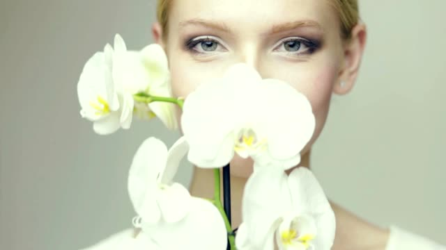 White lips Girl with Orchid