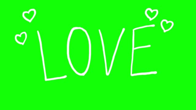 vídeos de stock e filmes b-roll de white love text and heart doodle loop on green screen - texto datilografado