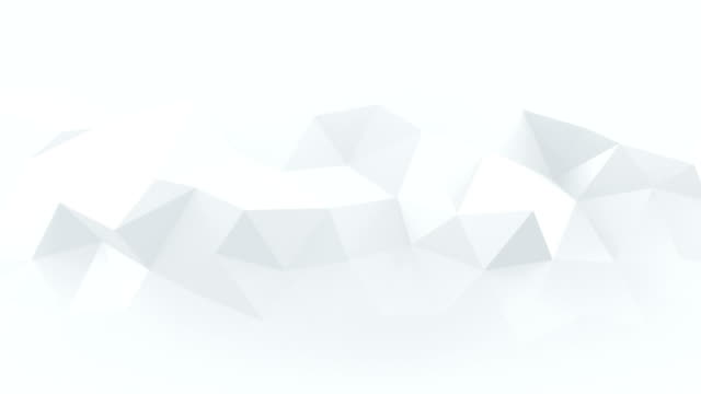 White low poly rumpled 3D surface seamless loop animation video