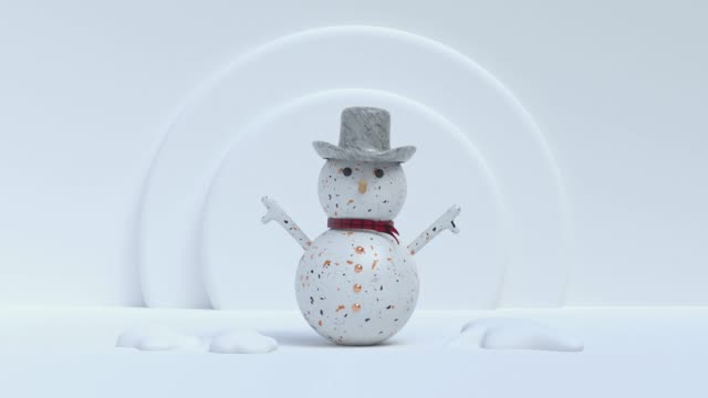 white marble texture snowman abstract motion 3d rendering video
