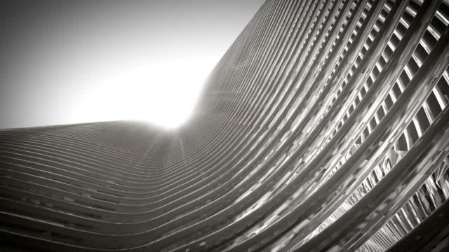 white metallic architecture fassade of futuristic skyscraper 3d rendered video animation. - metallizzato video stock e b–roll
