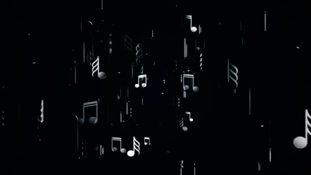 White music notes. Abstract background. Digital illustration video