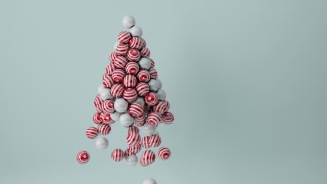 真珠の白と赤のストライプ ボール クリスマス ツリー - アイコン プレゼント点の映像素材/bロール