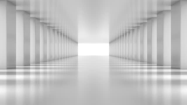 vídeos de stock e filmes b-roll de white polygon blocks hall zoom in. - céu claro