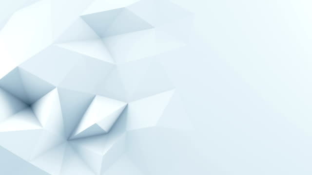 White polygonal shape 3D render animation loop - video