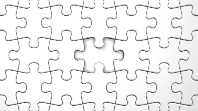White Puzzle That Changing To Black 3D render Animation. incomplete stock videos & royalty-free footage