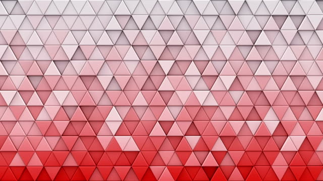 White red gradient triangles extruded 3D render loopable video