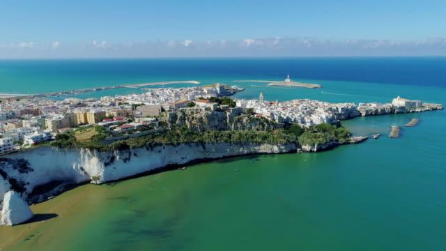 ホワイト ロック ビーチ ポリニャーノ ・ ア ・ マーレ プーリア市海海岸線白い家とイタリアの無人飛行中城 - 城点の映像素材/bロール