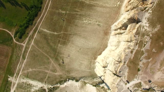 White rocky cliffs, top view, aerial video video