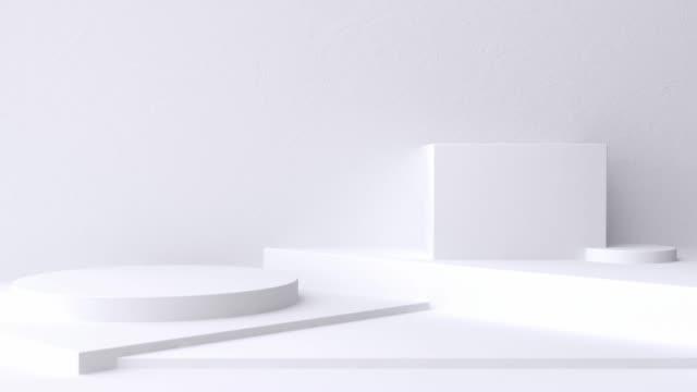 백색 장면 벽 바닥 최소한의 빈 공간 기하학적 3d 렌더링 모션 - 카피 공간 스톡 비디오 및 b-롤 화면