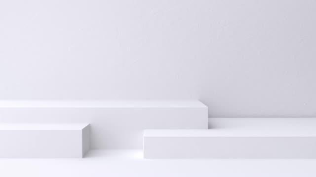 白いシーンの壁の床の最小ブランクスペース幾何学的な3d レンダリングモーション - 空白点の映像素材/bロール