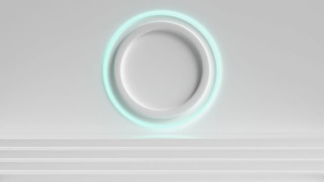 white scene wall steps circle light 3d rendering motion video