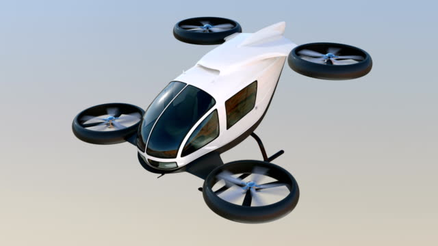 White self-driving passenger drone flying in the sky White self-driving passenger drone flying in the sky. 3D rendering animation. alternative fuel vehicle videos stock videos & royalty-free footage