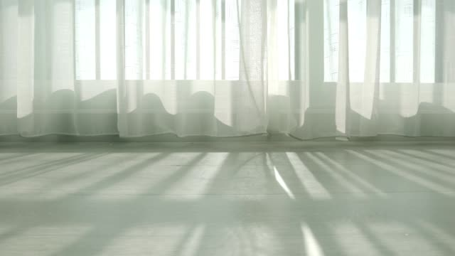 white Sheer curtain evening sunlight through with shade and shadow home concept