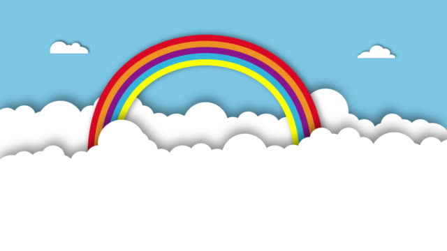 White sky background.Spring and summer season concept.Rainbow festival party landscape.scene place of your text for card and poster.Creative paper cut and craft style.Minimal Animation. video