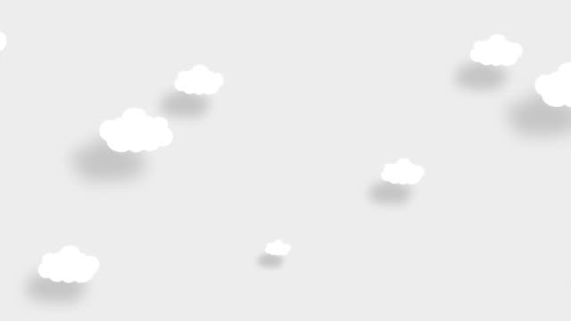 4K White sky full of clouds moving right to left. Cartoon sky background. Flat animation. Alpha Luma Matte included.