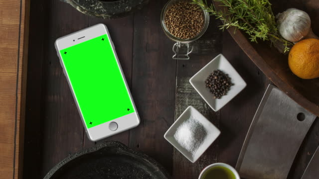White Smartphone on Desk Chroma Key Green Screen video