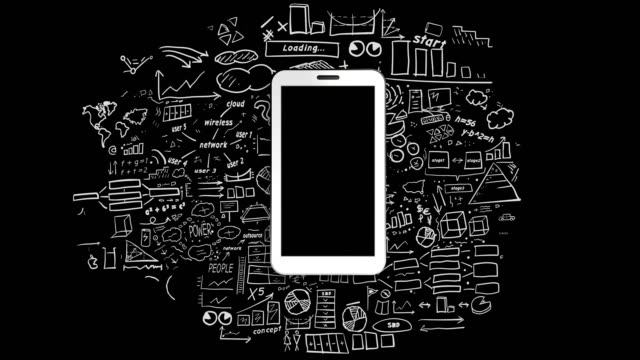 White smartphone on infographics background