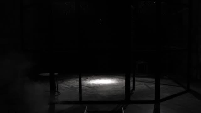 weißer rauch projektion in einem metallgitter käfig, kreisförmige mma boxring, in einem dunklen studio mit einem spotlight oder leichte dusche. show mit vintage-mikrofon. tracking in. rauch aus dem boden. - käfig stock-videos und b-roll-filmmaterial