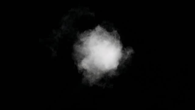 White Smoke Trail Isolated on Black Background