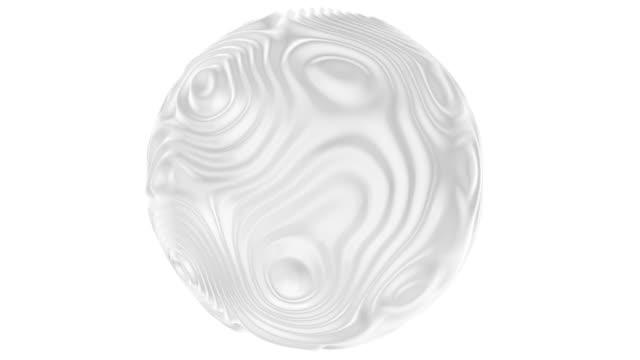 3d white sphere background in clean minimal style. looping ripple animation - гладкая поверхность стоковые видео и кадры b-roll