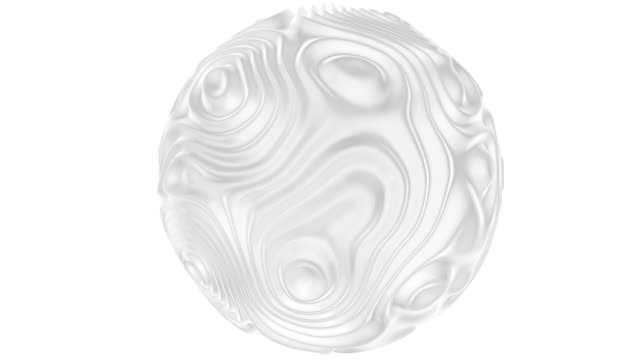 white sphere with animated and dynamic ripple texture in looping clean 3d background animation - spirala wir filmów i materiałów b-roll