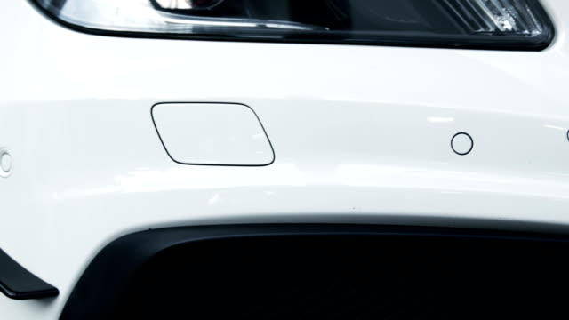 White sport car. Side view video