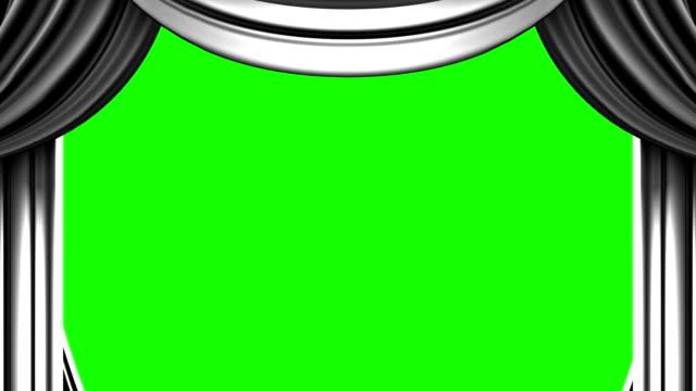 bianco sipario sul tasto verde chroma - sipario video stock e b–roll