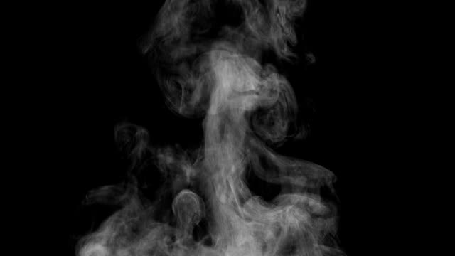 White Steam Rises from the Pan White Steam rises from a large pot that is behind the scenes. Black background. Filmed at a speed of 240fps steam stock videos & royalty-free footage