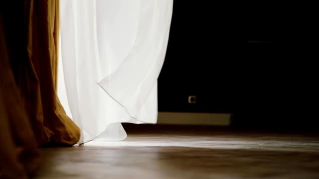 vidéos et rushes de un rideau blanc transparent est romantique vague dans le vent sur une journée d'été lumineuse - pureté