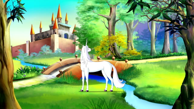 White Unicorn near a Fairy Tale Castle video