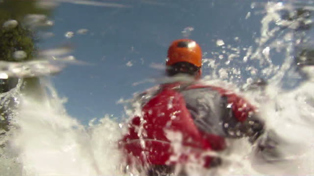 White water kayaking, POV camera video