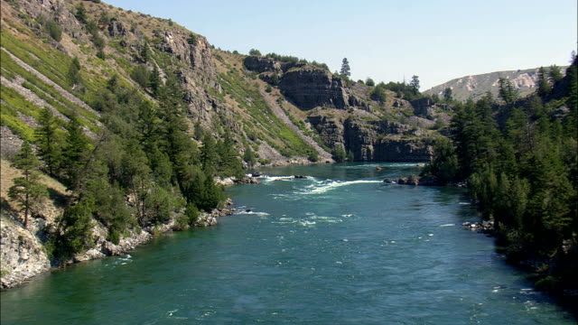 White Water Rafting  - Aerial View - Montana, Lake County, United States video