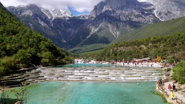 White Water River or Baishui River And Jade Dragon Snow Mountain ,Lijiang ,Yunnan ,China. video