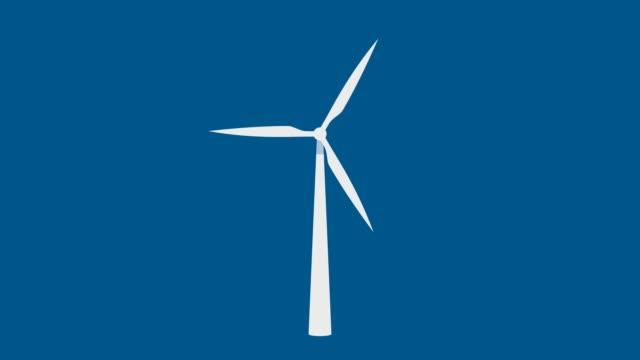 White wind turbine rotate loop on blue background.