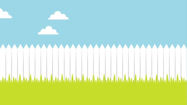 white wooden fence meadow - clip art video stock e b–roll