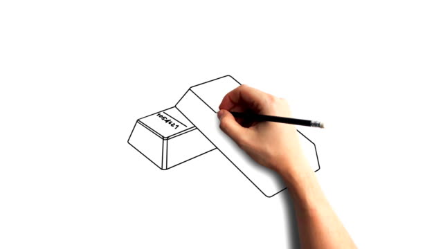 Whiteboard Stopmotion Style Animation Hand Drawing Gold Bars Stock Video Download Video Clip Now Istock