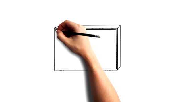 Whiteboard Stopmotion Style Animation Hand Drawing The Old Tv Stock Video Download Video Clip Now Istock