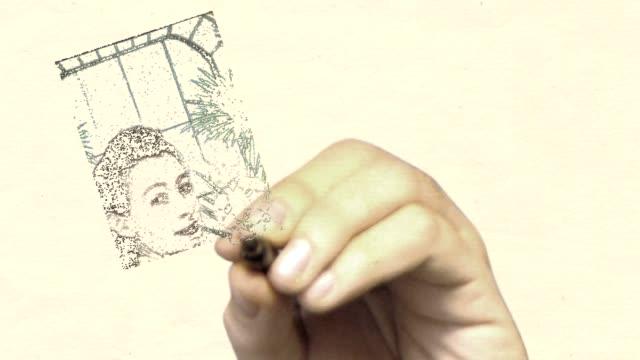 vídeos y material grabado en eventos de stock de pizarra acrílica vintage foto: la vista atrás - árboles genealógicos