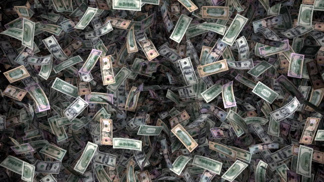 Whole Big Bunch of American Currency Floating By (Loop) video