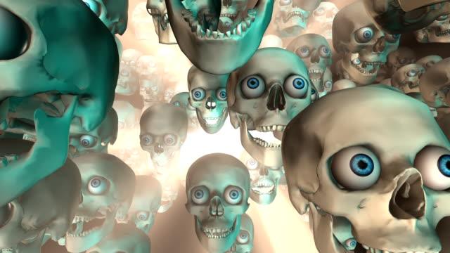大量的頭骨在明亮的光線下前進 (loopable) - 可循環移動圖像 個影片檔及 b 捲影像