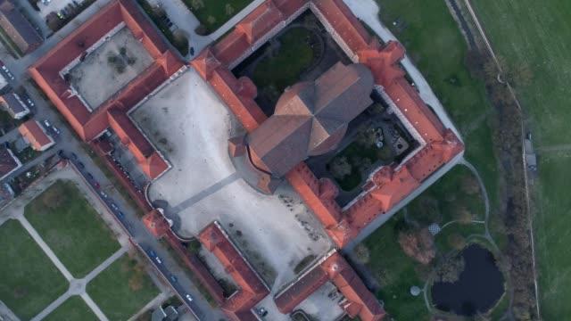 stockvideo's en b-roll-footage met wiblingen kloster abdij met drone bij zonsopgang vanaf de bovenkant - klooster