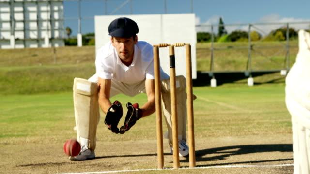 vídeos y material grabado en eventos de stock de encargado del wicket recoger pelota de cricket detrás de troncos durante partido - críquet
