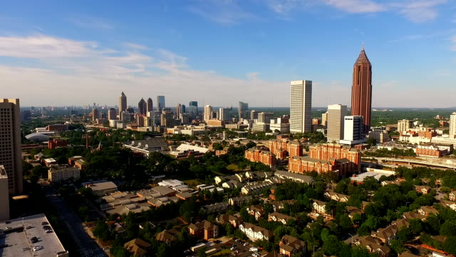 Wide Aerial Atlanta Georgia Rush Hour Traffic Downtown City Skyline video