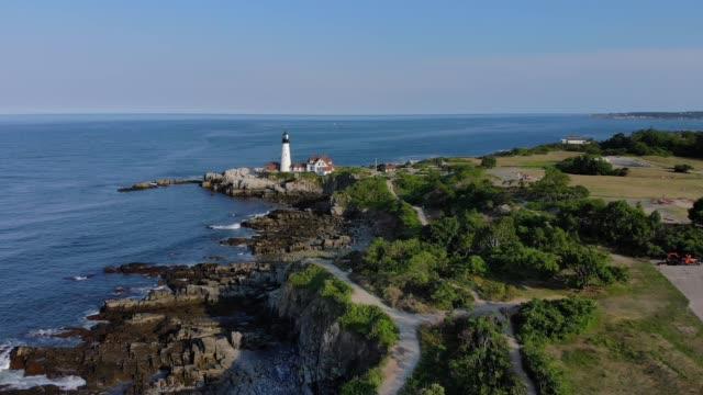 Wide Aerial Establishing Shot of Portland Head Lighthouse video