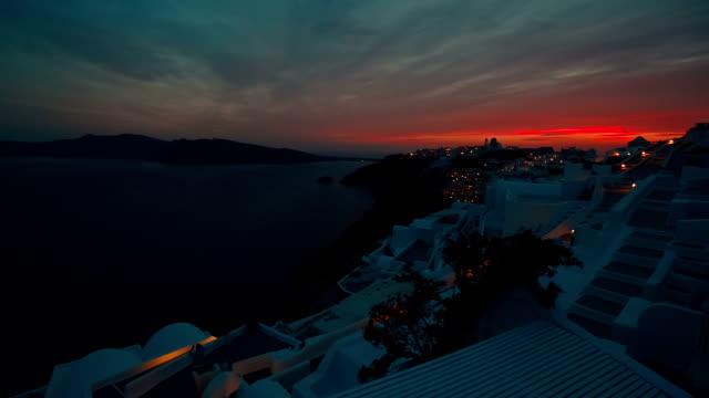 Wide Angle Caldera Dusk Shot in Santorini, Greece video